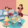 Stock Vector: Cartoon family at living-room