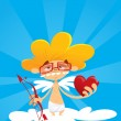 Geek cupid holding bow and heart - 图库矢量图片
