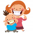 Happy mom and son with braces — Stock Vector