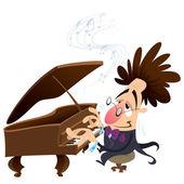 Cartoon pianist — Stock Vector