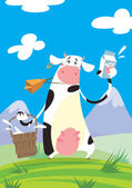 Cow with a milk package and a bucket — Stock Vector