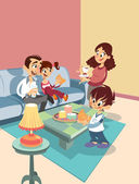 Cartoon family at the living-room — Stock Vector
