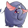Cartoon happy purple elephant — Stock Photo