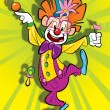 Happy clown on a clolorfoul background - Stock Photo