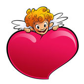Cupid behind a huge heart — Stock Photo