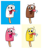 Happy cartoon character ice creams — Stock Photo