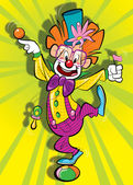 Happy clown on a clolorfoul background — Stock Photo