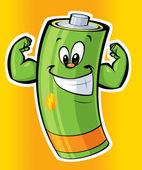Batería de dibujos animados super fuerte feliz — Foto de Stock