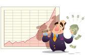 Man winning money as stock market goes up — Stock Photo