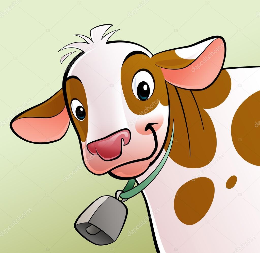 Mucca sorridente con puntini marroni e un campanaccio