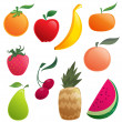Stock Vector: Shinny cartoon fruits