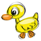 Naif drawing baby duck — Stock Vector