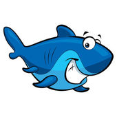 Cartoon smiling shark — Stock Photo