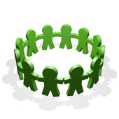 Green connected in a circle holding their hands — Stock Photo