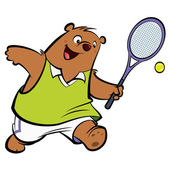 Cartoon happy bear playing tennis — Stock Vector