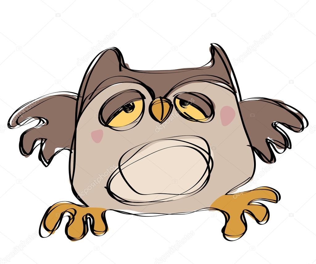 Gufo marrone bambino di cartone animato in stile naif