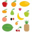 Simple cartoon shinny fruits collection - Stock Vector