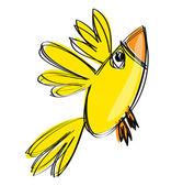 Dessin animé bébé jaune oiseau dans un style de dessin enfantin naif — Vecteur