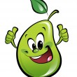 Happy cartoon pear making an ok gesture — Stock Photo