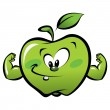 Happy cartoon strong green apple making a power gesture — Stock Vector