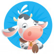 Cartoon sleepy baby cow thinking icon — Stock Photo