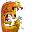 Cartoon lion holding a mouse frightening it - Stock Vector