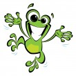 Happy cartoon smiling frog jumping excited - Stok Vektör