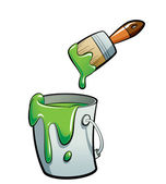 Cartoon green color paint in a paint bucket painting with paint — Stock Photo