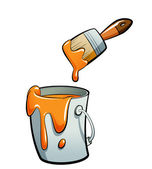 Cartoon orange color paint in a paint bucket painting with paint — Stock Photo
