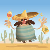 Cartoon mexican man with sombrero holding a bottle and maracas — Stock Photo