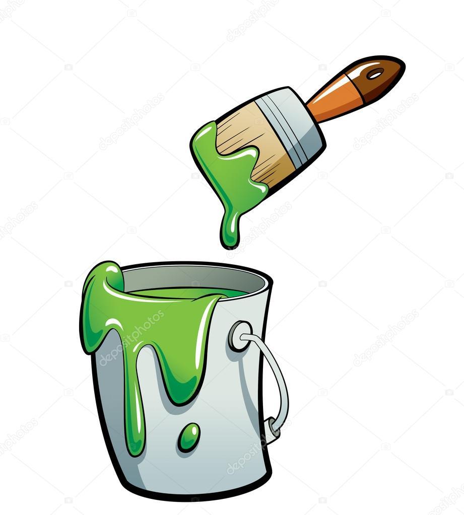 Cartoon groene kleur verf in een schilderij van de emmer verf met verf stockfoto - Kleurenkaart grijze verf ...