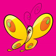 Cartoon yellow happy baby butterfly flying in a magenta backgrou — Stock Photo