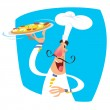 Stock Vector: Cartoon happy smiling chef serving pizzin tray wearing t