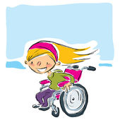 Happy cartoon smiling blonde girl in magenta wheelchair moving f — Stock Vector