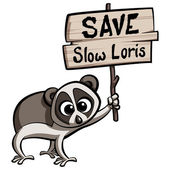 Save Slow Loris cartoon animal — Stock Vector