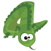 Number 4 cartoon funny lizard — Stock Vector