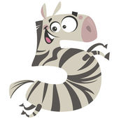 Number 5 excited cartoon zebra gallop — Stock Vector