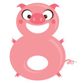 Number 8 funny cartoon smiling pig — Stock Vector