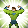 Stock Photo: Super hero in suit in green background