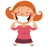 Happy woman smiling showing her smile and teeth — Stock Vector