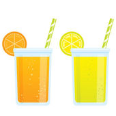 Cooling cartoon beverages cold refreshing drinks of orange and l — Stock Vector