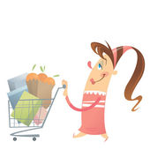 Happy woman shopping satisfied in a super market with her full c — Stock Vector