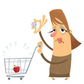 Sad poor woman without money with an empty cart holding only one — Stock Vector