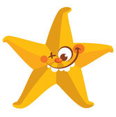 Happy crazy yellow face starfish tooth smiling — Stock Vector