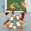 English language lesson in class , pupil learning alphabet with — Stock Photo #27675211
