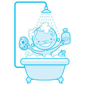 Happy cartoon baby kid in bath tub Blue version — Stock Vector