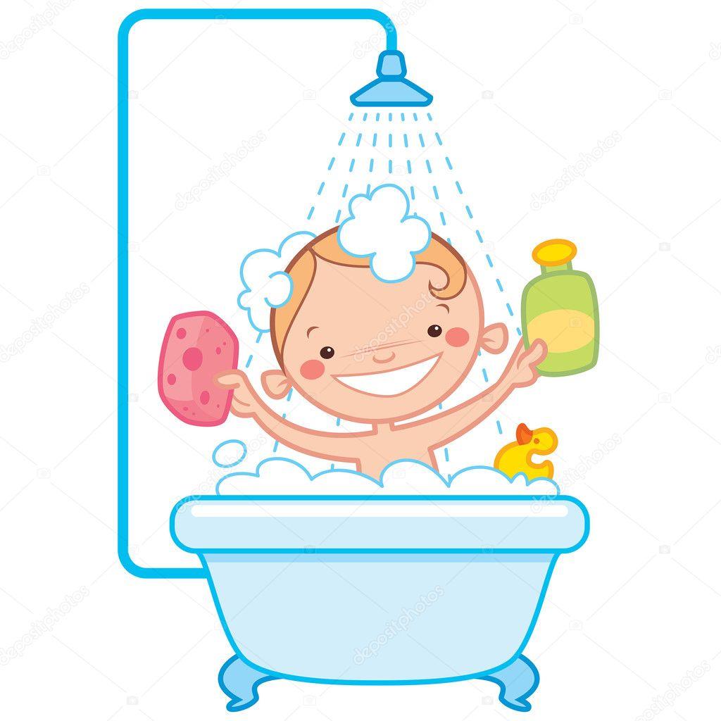 Imagenes De Baño Animadas:niño feliz de dibujos animados bebé bañera – Ilustración de stock
