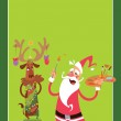 Christmas concept greeting card with Santa Claus and reindeer ch — Stock Vector