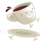 Cup of coffee cartoon character — Stock Vector
