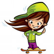 Happy cute girl on a skateboard making a thumbs up gesture — Stock Photo #33880087